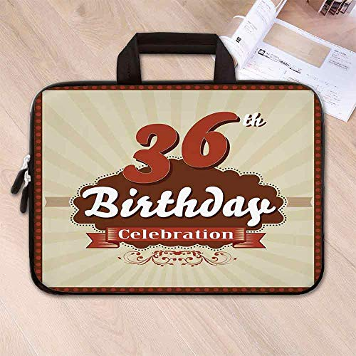 36th Birthday Decorations Lightweight Neoprene Laptop Bag,Birthday Celebration Invite Chocolate Wrap Like Image for Laptop Tablet PC,15.4''L x 11''W x 0.8''H