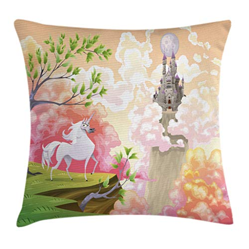 "Ambesonne Cartoon Throw Pillow Cushion Cover, World with Unicorn and Gothic Castle on Air Princess Dream Image, Decorative Square Accent Pillow Case, 20"" X 20"", Coral Green"