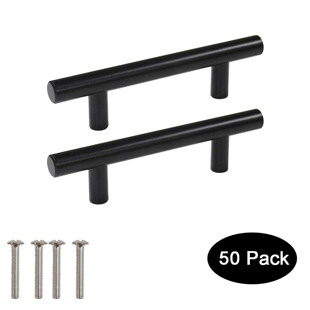 50 Pack Probrico Black Stainless Steel Kitchen Cabinet Door Handles T Bar Drawer Pulls Knobs Diameter 1/2 inch Hole Centers:3inch-5inch Length