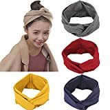 4 Pack 1950's Vintage Modern Style Elastic Women Turban Headbands Twisted Cute Hair Band Accessories (Yellow Grey Navy Burgundy) Yellow Grey Navy Burgundy One Size