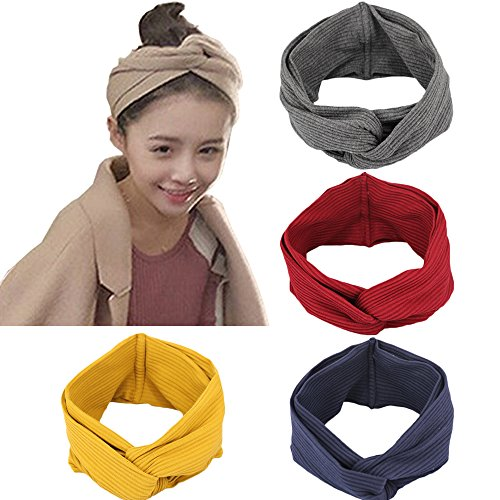 4 Pack 1950's Vintage Modern Style Elastic Women Turban Headbands Twisted Cute Hair Band Accessories (Yellow Grey Navy Burgundy) Yellow Grey Navy Burgundy One Size by DRESHOW