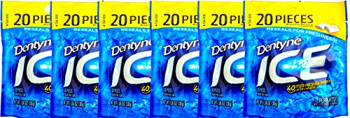 Dentyne Peppermint Chill Sugar Free Gum 40 Min Fresher Breath After Chewing, 20 Pieces Over 1 Pack (PACK OF 6) -