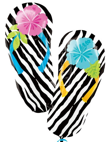 Wild Isle Luau Flip Flop Jumbo Foil Balloon Party Accessory