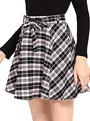 Milumia Women Plaid Mini Skater A line Skirt Belted Zipper Pleated Business Casual Black M