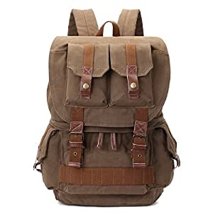 Generic Multifunction Canvas Backpack Shoulders Bag Cameras Bags Outdoor Sports Bag with Interior Lining & Rain Cover, Size: 45x33x20cm(Army Green)