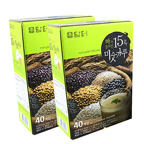 (DAMTUH Korean Roast Grain with Yam Tea, 15 Roasted Grains Mixed Powder Breakfast Drink (Misugaru, 20g) 2 Boxes (40 Sticks x 2))