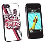 Graphics and More No Music No Life - DJ Radio Stereo Microphone Rock Roll - Snap-On Hard Protective Case for Apple iPhone 5/5s - Non-Retail Packaging - Black