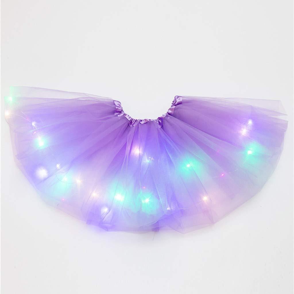 Lazzboy Donna Party Club Illuminazione LED tut/ù Gonna Tulle Mini Bubble Taglia 36-52
