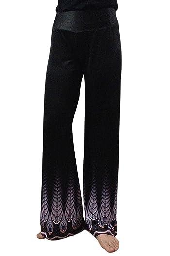 Women's Digital Printed Elastic Waist Wide Legs Pants Ethnic Palazzo