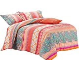 Wake In Cloud - Bohemian Comforter Set, Orange Coral Boho Chic Mandala Pattern Printed, Soft Microfiber Bedding (3pcs, Twin Size)