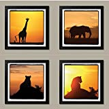 4 African Safari Animals Silhouettes at Sunset Giraffe Elephant Lion; Four 12 by 12-Inch Black Framed Prints; Ready to hang!