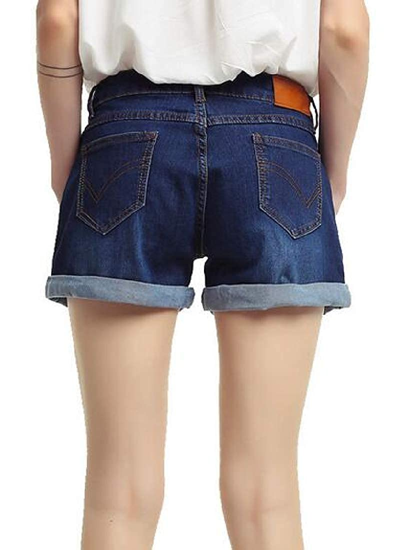 CRYYU Women Roll Up Bodycon High Rise Fashion Denim Shorts Jeans Hot Pants