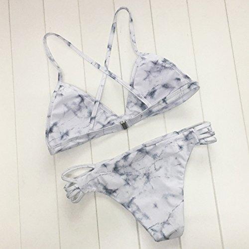02a9adeb34 DaiLiWei 2 Pcs Marble Print Cross Back Top Bottom Double Side Swim Wear  Women Bikini Sets