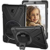 CCMAO Galaxy Tab A 8.0 2018 Case, SM-T387 Case, [Hand Strap] 360 Degree Rotating Kickstand Full-Body Impact Resistant Cover for Samsung Galaxy Tab A 8.0 Inch 2018 (SM-T387 Verizon/Sprint) (Black)