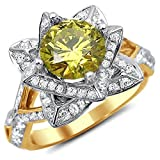 Smjewels 2.00 Ct Yellow Round Sim.Diamond Lotus Flower Engagement Ring 14K Yellow Gold Plated