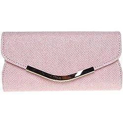 Fashion Road Evening Clutch, Womens Mini Glitter Clutch Purses For Wedding & Party Pink