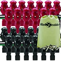 Billiard Evolution 26 Red and Black Robotic Foosball Men with Free Screws and Nuts Drawstring Bag