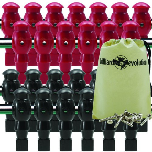 26 Red and Black Robotic Foosball Men with Free Screws and Nuts and Billiard Evolution Drawstring Bag by Billiard Evolution