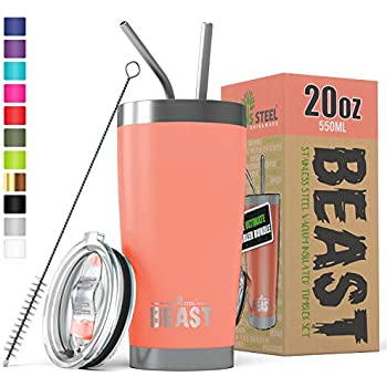 BEAST 20 oz Tumbler Stainless Steel Insulated Coffee Cup with Lid, 2 Straws, Brush & Gift Box (20 oz, Blossom)