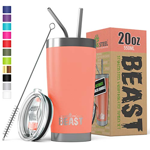 (BEAST 20 oz Tumbler Stainless Steel Insulated Coffee Cup with Lid, 2 Straws, Brush & Gift Box (20 oz,)