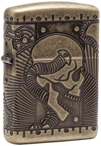 ZIPPO ジッポー オイルライターZippo Steampunk Skull Multi Cut Armor Antique Brass Finish Lighter