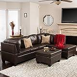 Welsh Brown Vegan Leather Sectional Sofa Set