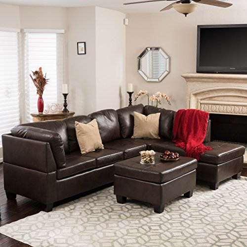 Welsh Brown Vegan Leather Sectional Sofa Set