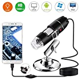 YOMYM 1000x Magnification Endoscope, Mini USB Microscopes with Metal Stand and OTG Adapter, 2MP 8 LED USB 2.0/1.1 Digital Microscope, Compatible with Mac Window 7 8 10 Android Linux