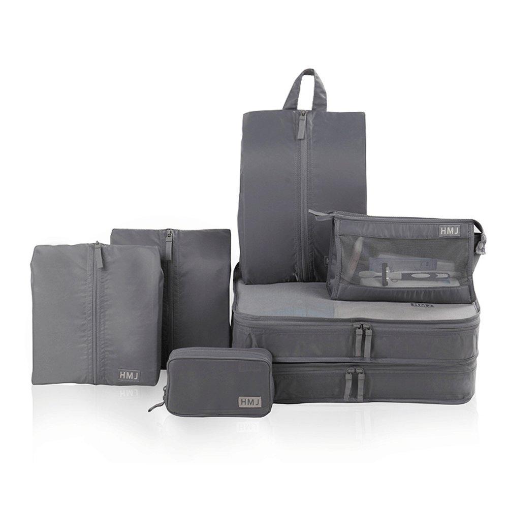 Lilongjiao 7-Piece Waterproof Travel Storage Bag Set Suitcase Suitcase Suitcase Sorting Bag Clothes Folding Bag Portable Travel Bag (Color : Black)