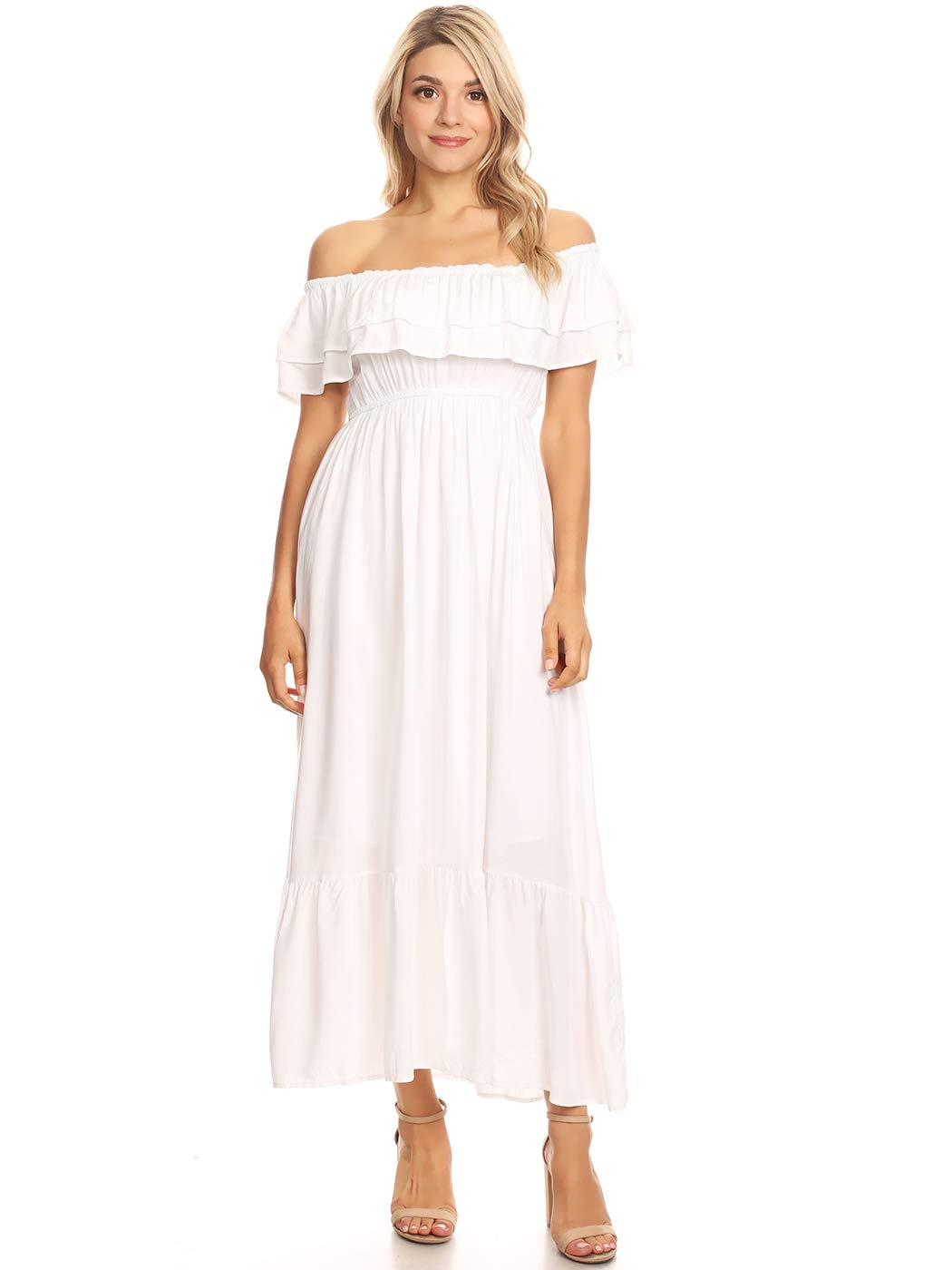 Anna-Kaci Womens Boho Peasant Ruffle Stretchy Short Sleeve Maxi Long Dress, White, Small