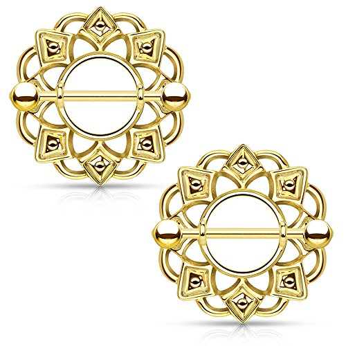 Dynamique Tribal Shield Nipple Ring With 316L Surgical Steel Barbell ()