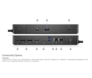 Dell Thunderbolt Dock- WD19TB 130w Power. 5120 x 2880-60 Hz. Data Link Protocol: Ethernet, Fast Ethernet, Gigabit Ethernet. Interfaces: 2 x Display/Video - DisplayPort - 20 pin DisplayPort, 1 x di