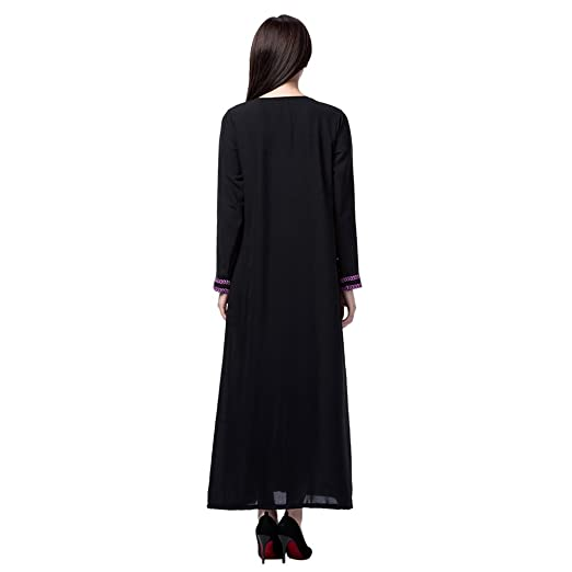 db5f3ca65ab Hougood Robe Longue Femme Ete Robe Musulmane Islamique Abaya Robe À Manches  Longues Dubai Caftan Robes Noir Broderie Ceremonie Party Occasion Robe  Cocktail ...