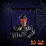 Halloween Decoration Hanging Caged Animated Jail Prisoner Skeleton Terror Decoration Flashing Light up Prop Toy by HollyHOME