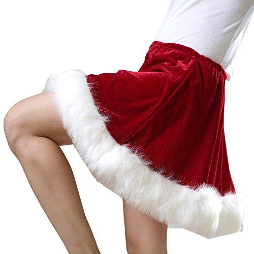 Red Velveteen Ms. Santa Skirt, White, STANDARD -
