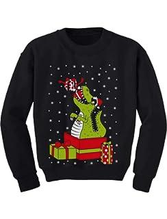 Tstars T-Rex Dinosaur Ugly Xmas Sweater Toddler//Kids Sweatshirt