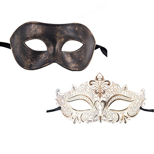 Xvevina Couple Masquerade Metal Masks Venetian Halloween Costume Mask Mardi Gras (Coming To America Wedding Dress)