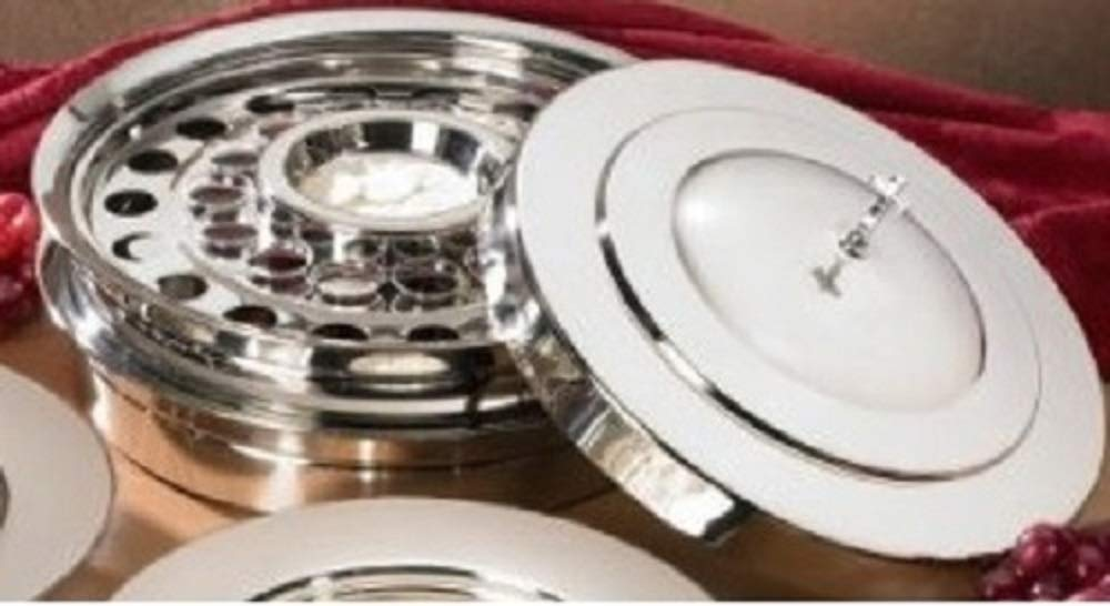 Stackable Communion Tray with Center Bread Plate & Tray Cover - Stainless Steel Silver Finish