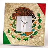 Flag Mexico Wall Clock Framed Mirror Printed Mexican Coat of Arms Art Home Room Patriotic Decor Gift