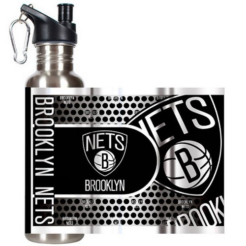 Great American Products NBA New Jersey Nets Steel Water Bottle with Metallic Graphics, 26 oz, Silver by Great American Products