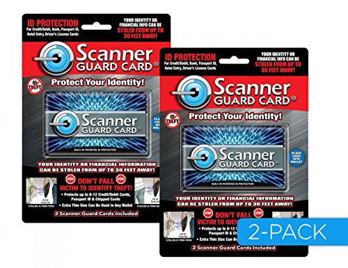 Scanner Guard Card 2 Pack, The Best RFID Blocking Cards, MET Lab Tested Protects Credit/Debit/ID Cards, Passports From RFID Scanning; Fits in Wallet/Purse.Premium RFID Protection (Scanner Qvc)