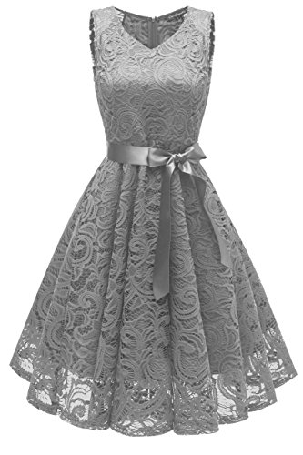 Gray Cocktail - MILANO BRIDE Women's Vintage 1950s Style Floral Lace V-Neck Cocktail Party Dresses Short Length with Sash-XXL-Gray