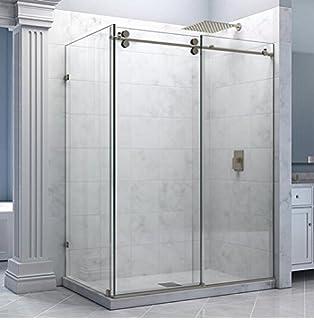 Amazon frameless sliding shower door hardware kit glass diyhd 5ft stainless steel chrome sliding shower barn door with return panel hardware shower room kit planetlyrics Images
