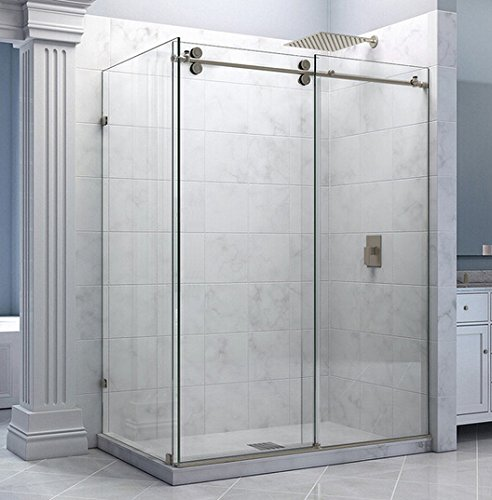 Return Panel (DIYHD 6.6FT Stainless Steel Satin Sliding Shower Barn Door With Return Panel Hardware Shower Room Kit-No Glass)
