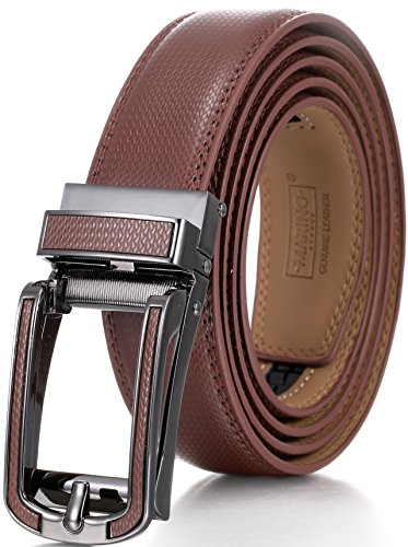 Marino Men's Genuine Leather Ratchet Dress Belt with Open Linxx Buckle, Enclosed in an Elegant Gift Box - Brown - Style 138 - Custom: Up to 44