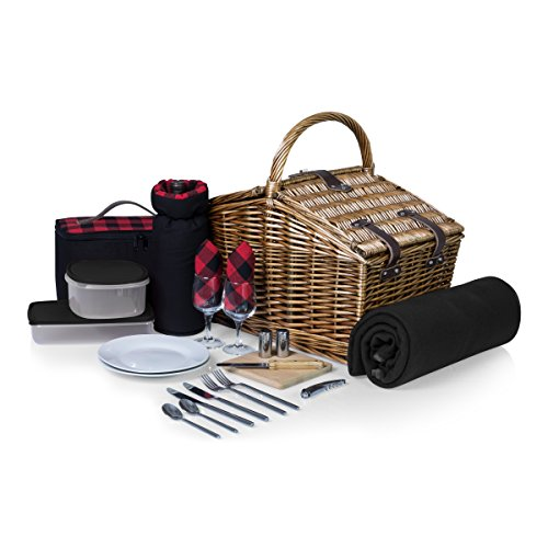 PICNIC TIME 'Somerset' English-Style Double Lid Willow Picnic Basket with Service for 2 , Red/Black Buffalo Plaid (Rattan Suitcase)