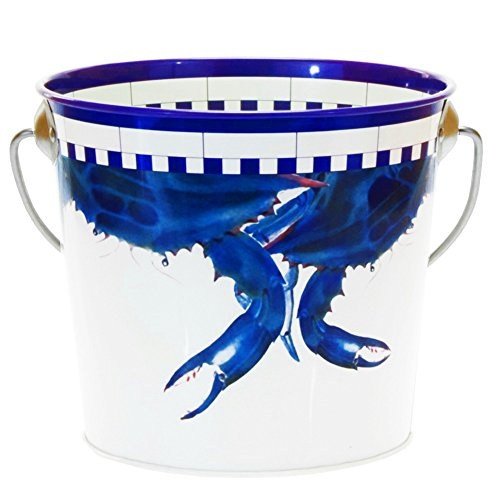 Enamelware - Blue Crab Pattern - Small Ice Bucket