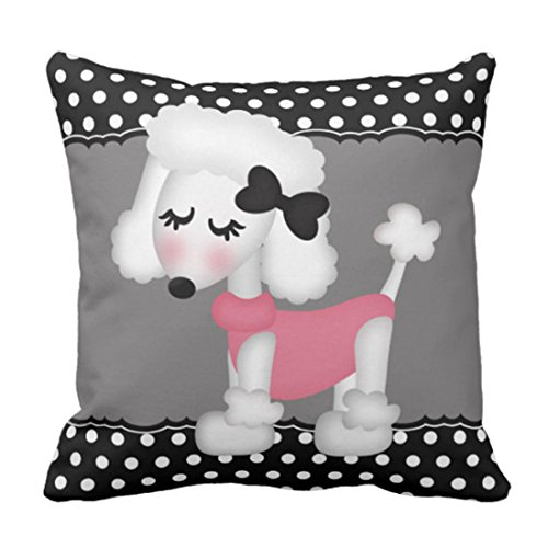 Emvency Throw Pillow Cover Pink Custom Retro Girly Paris Poodle Cute Decorative Pillow Case Home Decor Square 20 x 20 Inch Pillowcase ()
