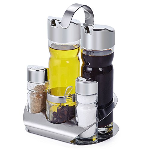 Server Solid Portion (LuckIn Olive Oil and Vinegar Cruet Set Condiment Bottles Spices Shakers with Stainless Steel Caddy Stand - Salt and Oil Server Set 5 Piece)