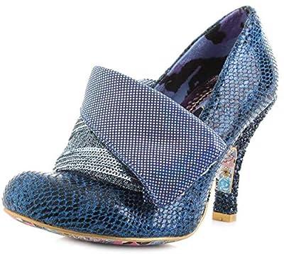 #Irregular Choice Flick Flack Blue Multi Womens Closed Toe Heels Shoes